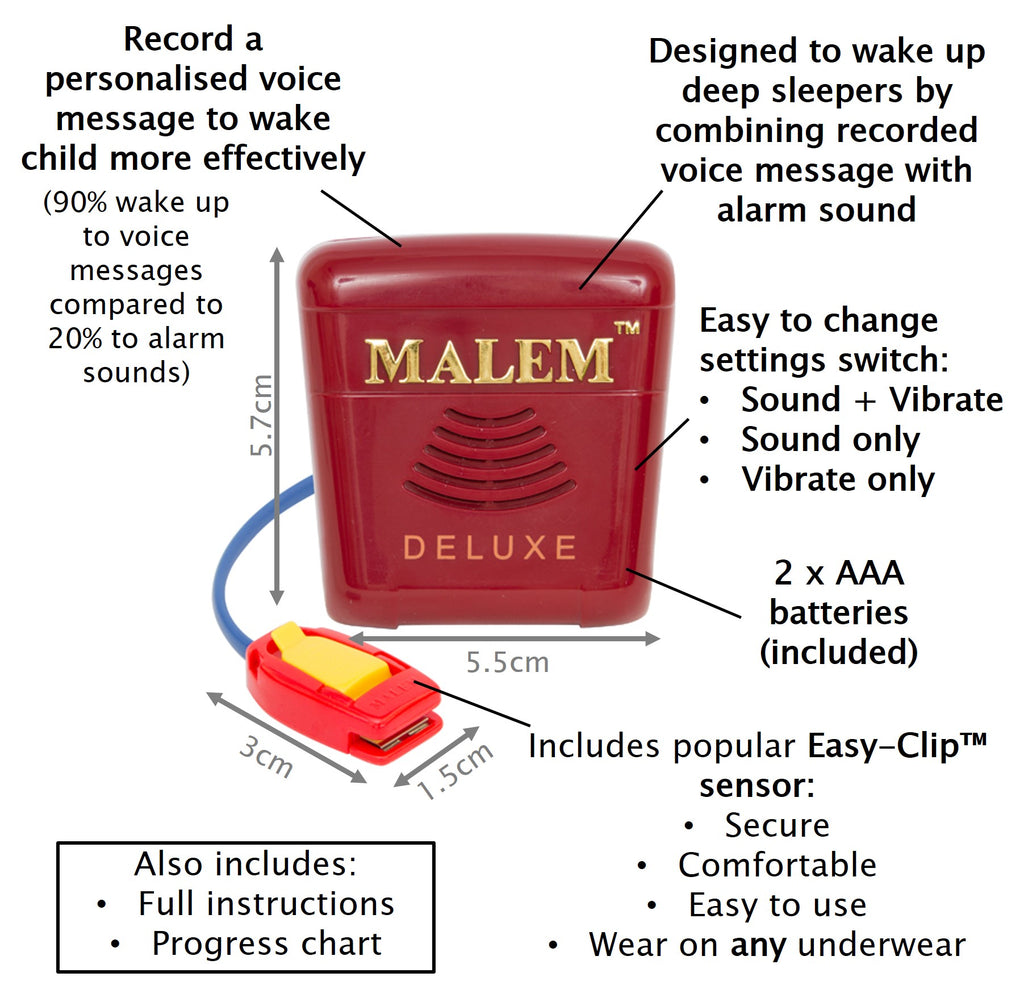 NEW* Malem Bedwetting Alarm - MO24 Deluxe - Mulberry | Cure