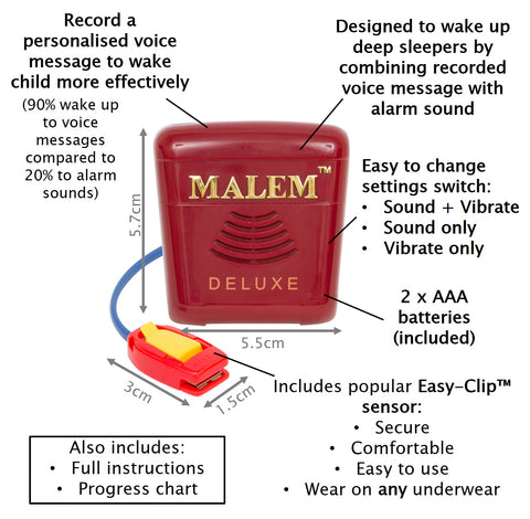 Malem MO24 Deluxe recordable bedwetting alarm