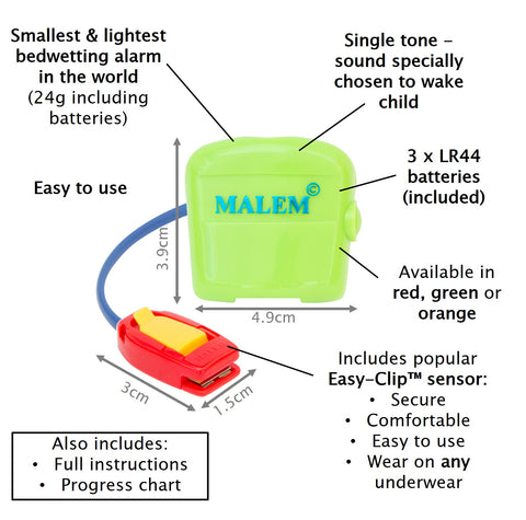 Malem Bedwetting Alarm - MO3 Audio (single tone) - Green