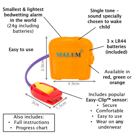 MO3 Orange Malem Wearable Enuresis Bedwetting Alarm
