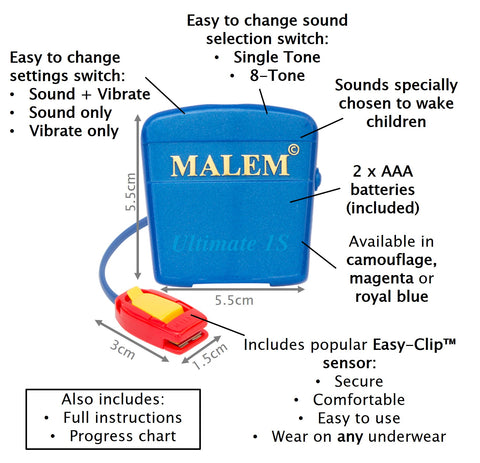 MO4S Royal Blue Malem Wearable Enuresis Bedwetting Alarm