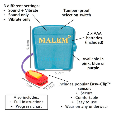 MO4 Blue Malem Wearable Enuresis Bedwetting Alarm
