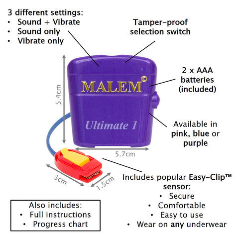 MO4 Purple Malem Wearable Enuresis Bedwetting Alarm