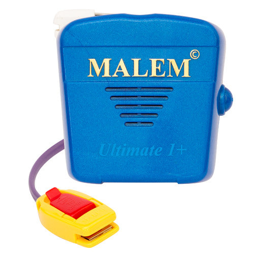 MO5 Blue Malem Wearable Enuresis Bedwetting Alarm front with clip