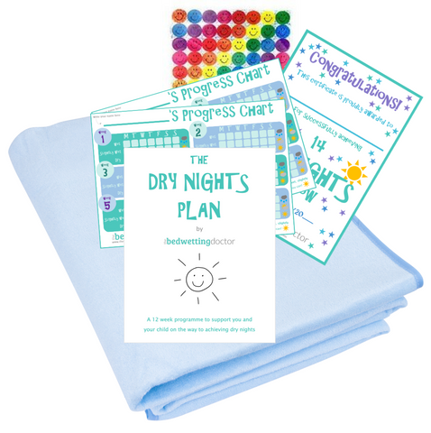Everything you need to start curing bedwetting - 12 week guide, waterproof bedsheet, progress charts, reward stickers and dry nights certificate