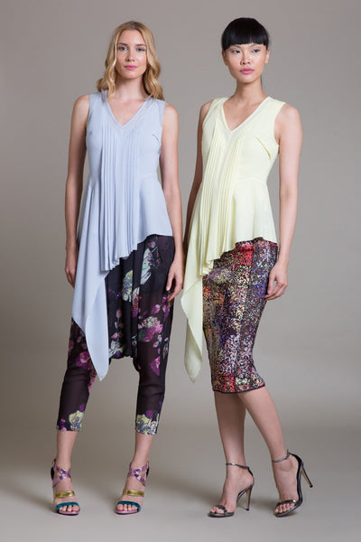 Asymmetrical Sleeveless V-Neck Shell - Byron Lars Beauty Mark