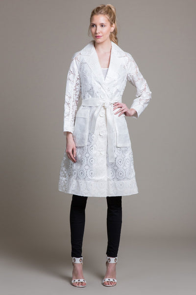Coated Eyelet Trench Coat
