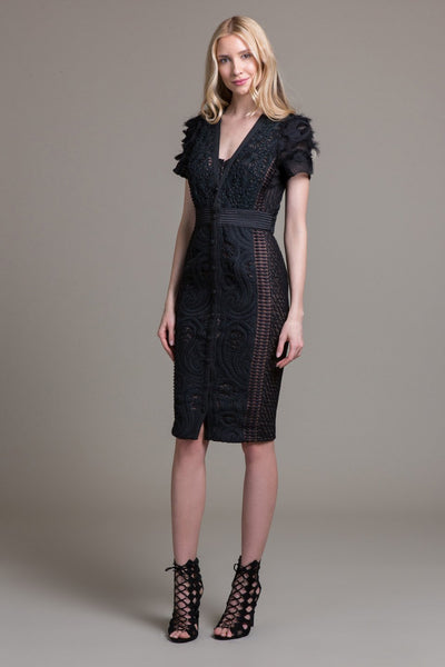 Textural Mix Button Front Sheath - Byron Lars Beauty Mark