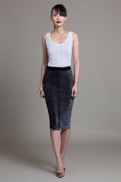 Crimped Velvet Laced Hobble Skirt - Byron Lars Beauty Mark