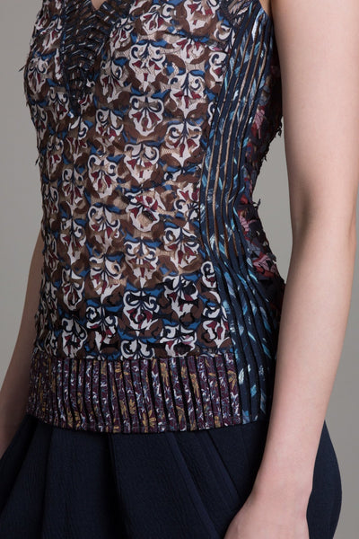 Laser Cut V-Neck Shell - Byron Lars Beauty Mark