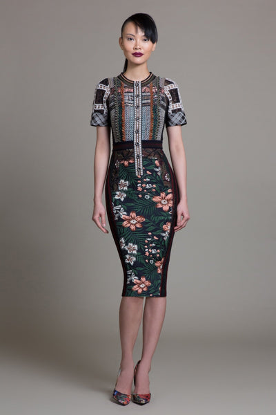 Floral Spice Jacquard Sheath - Byron Lars Beauty Mark