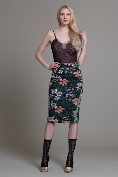 Floral Spice Jacquard Tailored Skirt