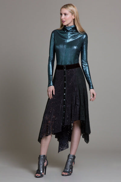 Dark Greige Sueded Lace Skirt - Byron Lars Beauty Mark