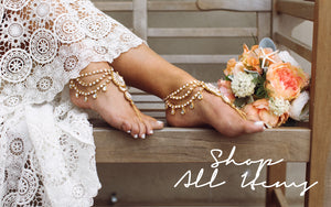Shop All Items: barefoot sandals, foot jewelry, anklets, hand chain and hair jewelry from Bare Sandals