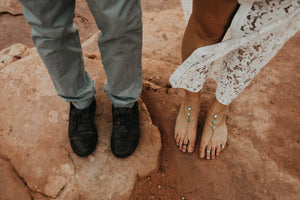 Bride and Groom Barefoot in the Desert