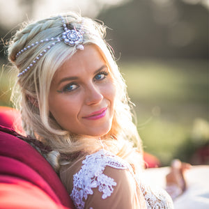 Bride wearing Bia Head Chain in Silver