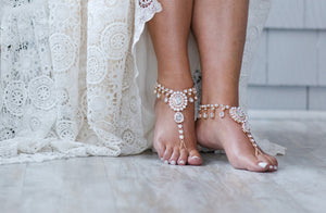 Starla Bridal Barefoot Sandals in Gold