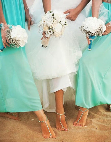 Paula B. wears barefoot sandals on her wedding day