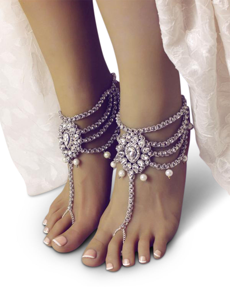 Amour Silver Barefoot Sandals