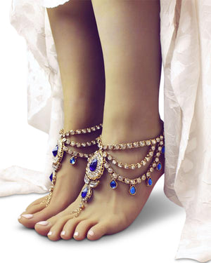 Bali Gold and Blue Barefoot Sandals