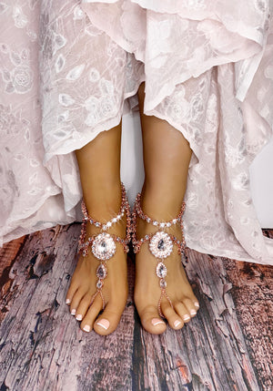 Aida Rose Gold Barefoot Sandals