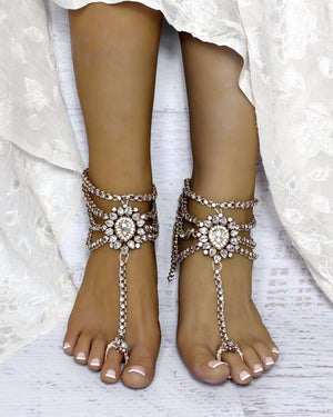 Amour Gold Barefoot Sandals