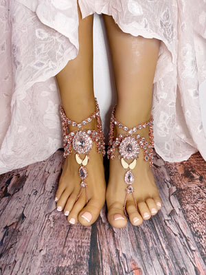 Bali Rose Gold Barefoot Sandals