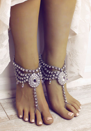 Fatima Silver Barefoot Sandals