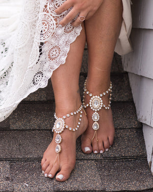 Katy Barefoot Sandals in Gold