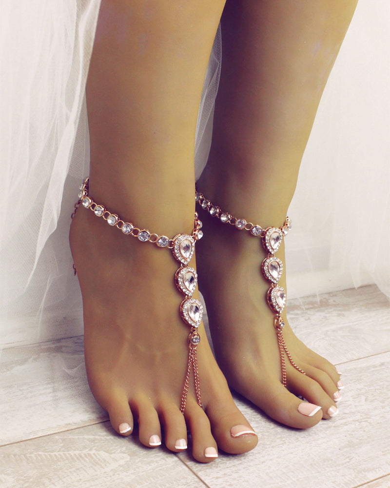 Nia Gold Barefoot Sandals