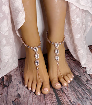 Nia Rose Gold Barefoot Sandals