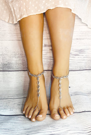 silver barefoot sandals for beach wedding