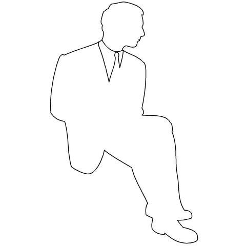 People - Man Seated Silhouette [2D Front Elevation]