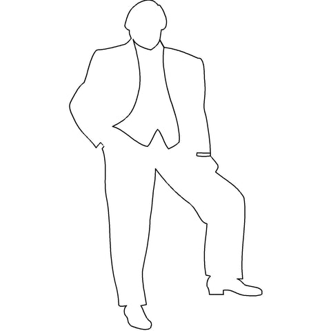 People - Man Standing Posed Silhouette [2D Front Elevation]