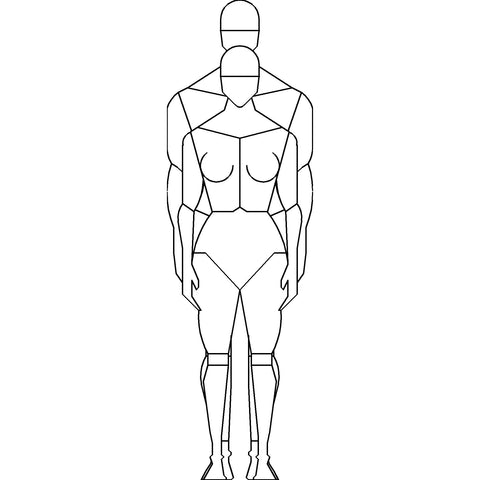 People - Man and Woman Standing Mannequin-Style [2D Front Elevation]