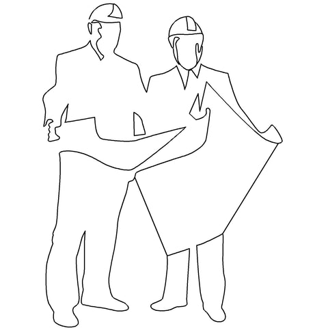 People - People Standing with Plans Silhouette [2D Front Elevation]