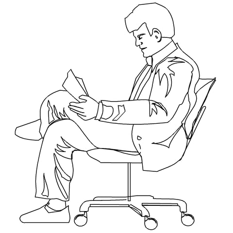 People - Man Seated 1 [2D Side Elevation]
