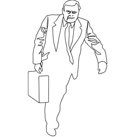 People - Man Walking with Briefcase [2D Front Elevation]