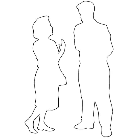 People - Man and Woman Talking Silhouette [2D Front Elevation]