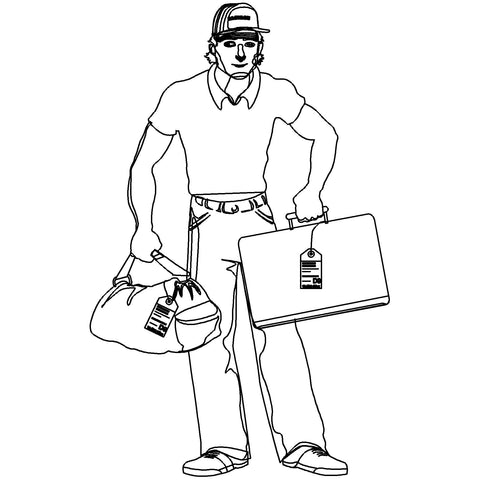 People - Man Standing with Luggage [2D Front Elevation]