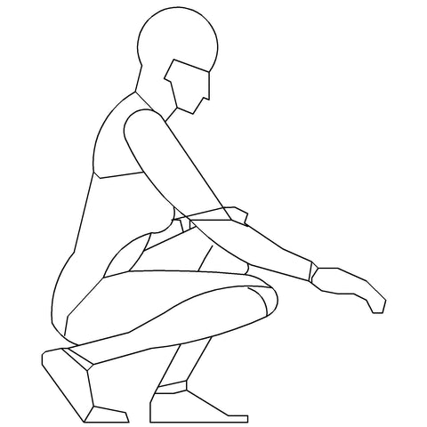 People - Woman Crouching Mannequin-Style [2D Side Elevation]