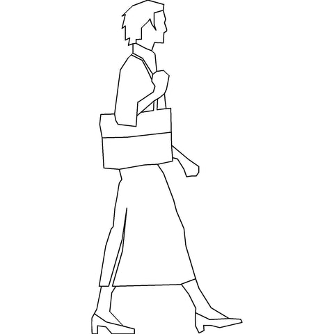 People - Woman Walking 2 [2D Side Elevation]