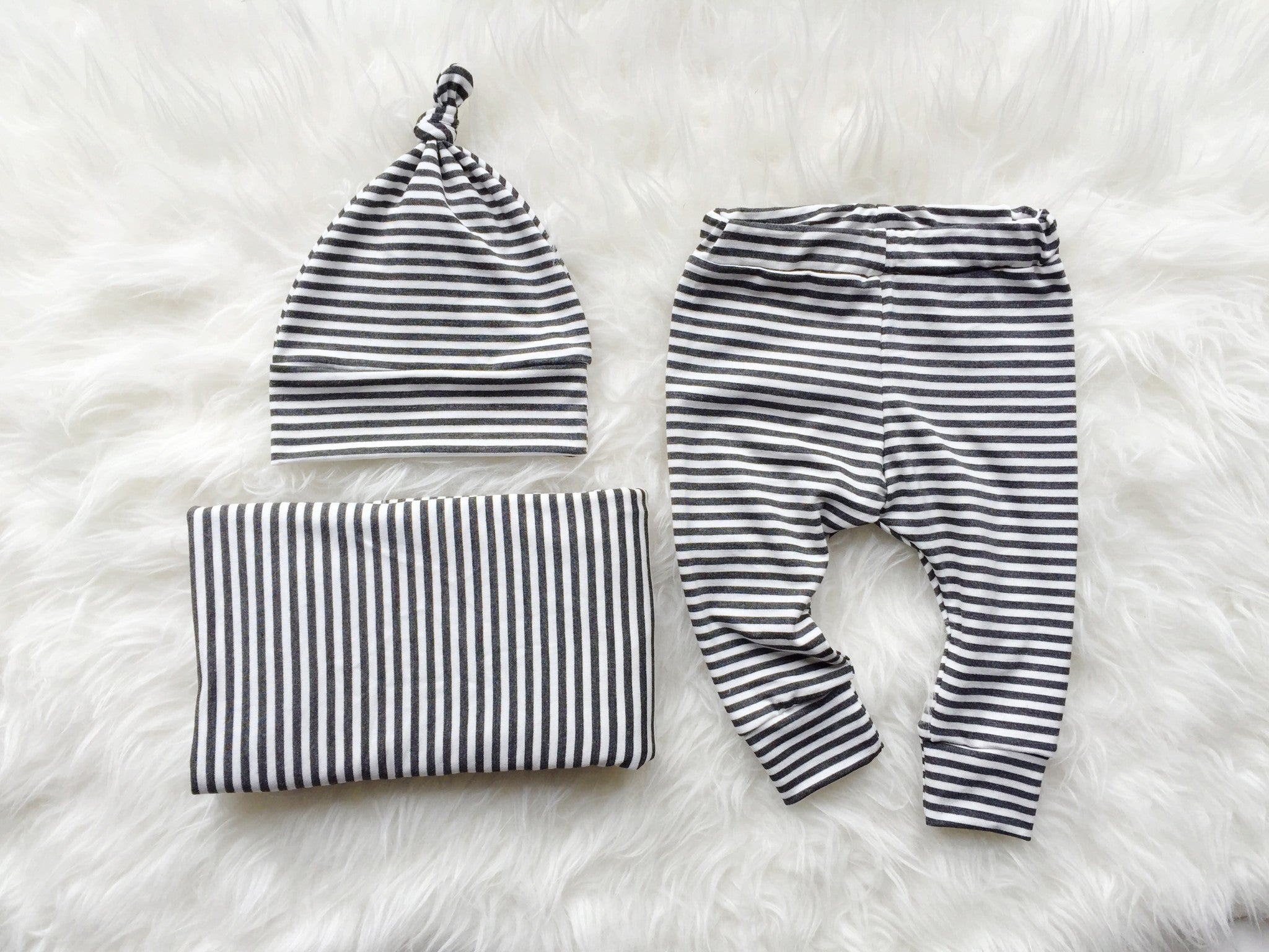 Baby Basics Bundle in Charcoal Stripe - Alexandra Rose Handmade