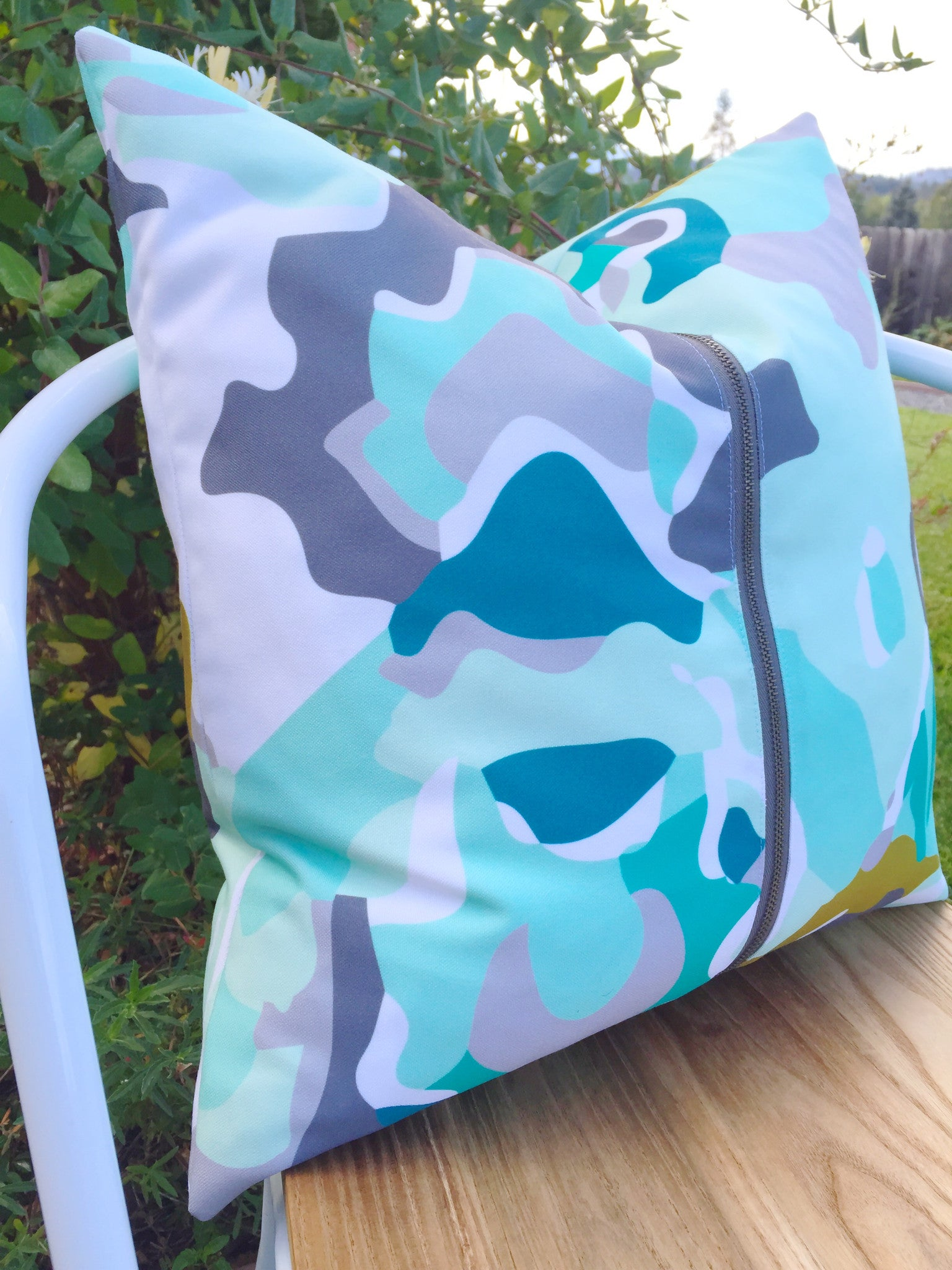 Recycled Canvas Pillow Turquoise Watercolor - Alexandra Rose Handmade