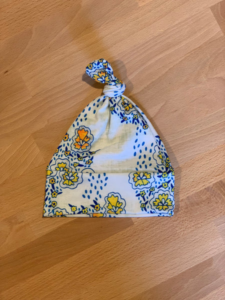 Knotted Beanie in Blue & Yellow Floral - Alexandra Rose Handmade