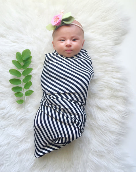Bamboo Swaddle / Infant & Toddler Blanket in Black & White Stripe - Alexandra Rose Handmade