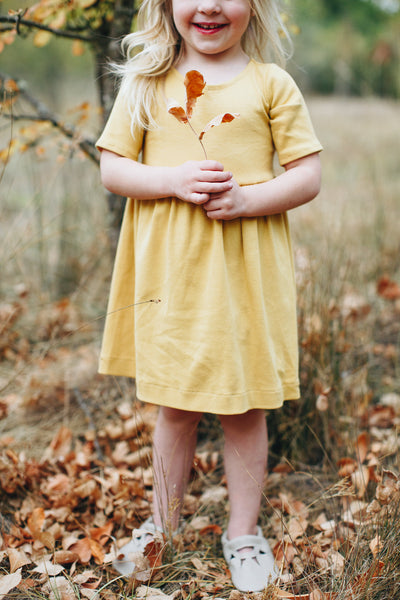 Essential 3/4 Sleeve Dress in Mustard - Alexandra Rose Handmade