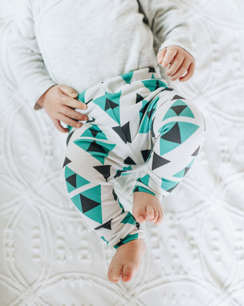 Jersey Leggings in Turquoise Triangle - Alexandra Rose Handmade