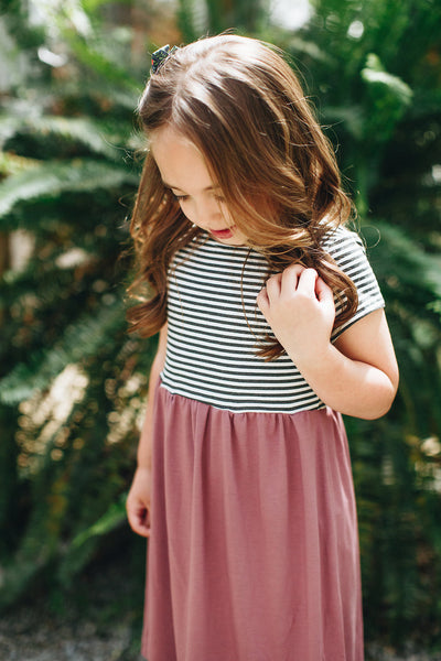 Essential Cap-Sleeve Dress // Colorblock Stripe + Mauve (PREORDER) - Alexandra Rose Handmade