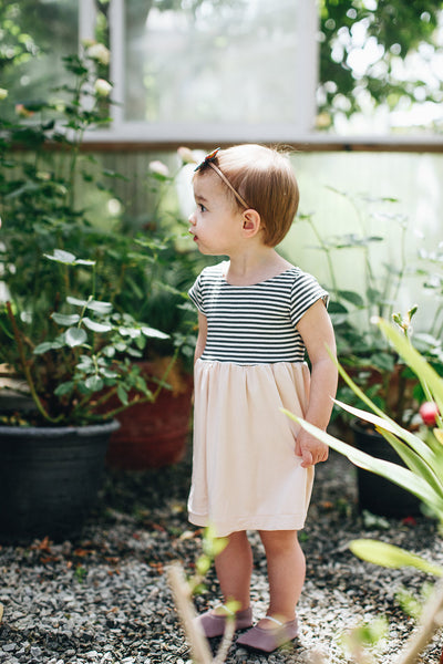 Essential Cap-Sleeve Dress // Colorblock Stripe + Blush - Alexandra Rose Handmade